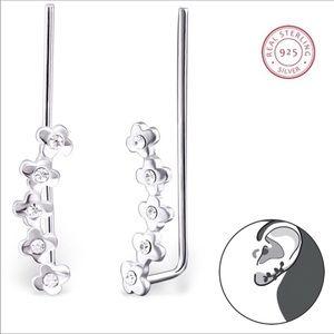 925 Silver Flower Ear Crawlers w/Crystals